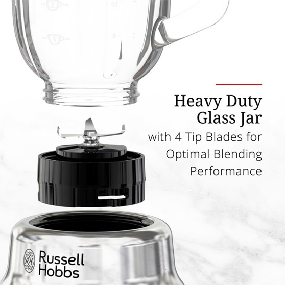 Heavy Duty Glass Jar - with 4 tip blades for optimal blending performance