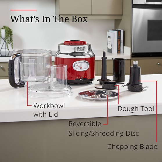 What's in the Box = Workbowl with lid, reversible slicing/shredding disc, dough tool, chopping blade