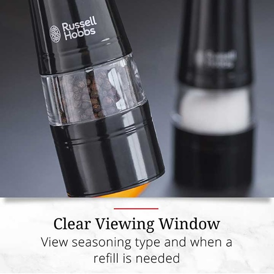 Clear Viewing Window – View seasoning type and when a refill is needed