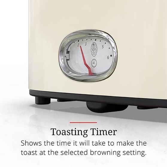 Toasting Timer shows the time it will take to make the toast at the selected browning setting | TR9150CRRC