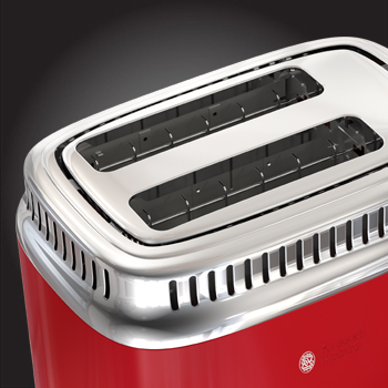 russell hobbs red retro style 2 slice toaster tr9150rdrc