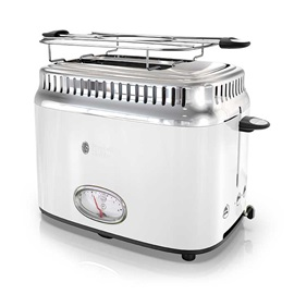 Retro Style 2-Slice Toaster | White & Stainless Steel