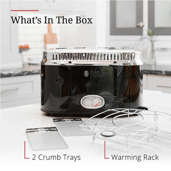 What's in the box | Crumb tray and warming rack | TR9250BKR