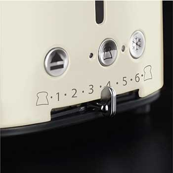 Russell Hobbs cream retro 4 slice toaster with variable browning control