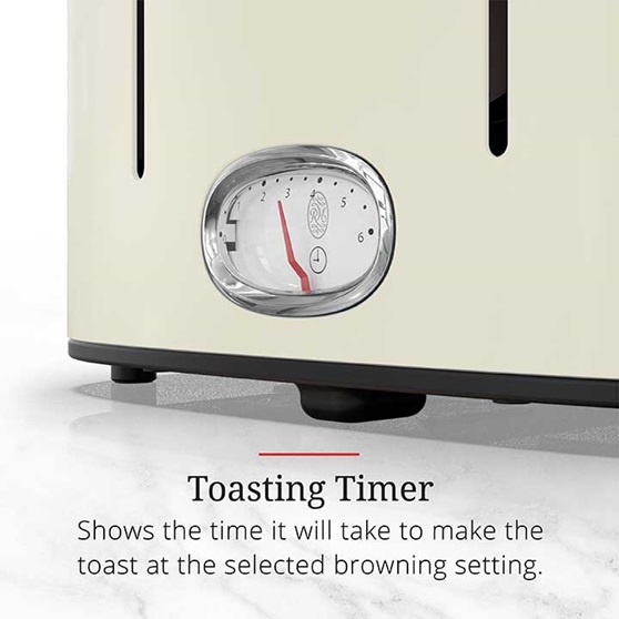 Toasting Timer shows the time it will take to make the toast at the selected browning setting | TR9250CRRC
