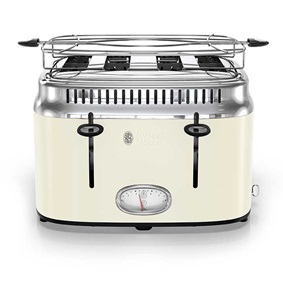 Retro Style 4-Slice Toaster | Cream & Stainless Steel