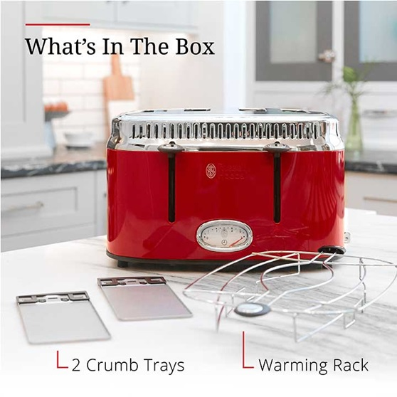 What's in the box | Crumb tray and warming rack | TR950RDR