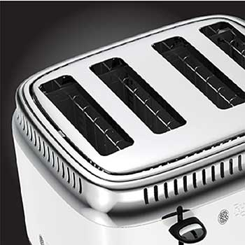 white retro 4 slice toaster extra wide slots