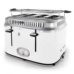 Retro Style 4-Slice Toaster | White & Stainless Steel