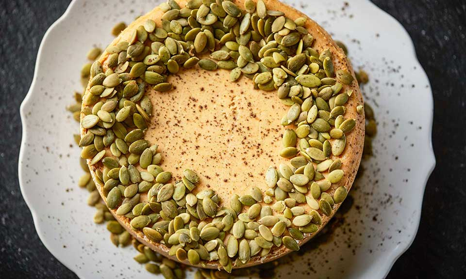 pumpkin pie cheesecake russell hobbs exclusive recipe showing top of cake