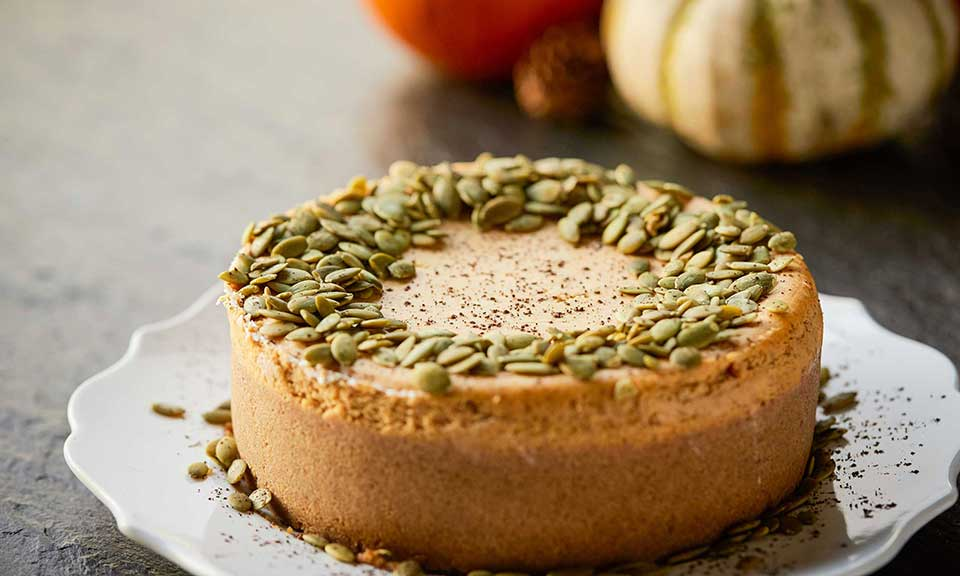 pumpkin pie cheesecake russell hobbs exclusive recipe showing side of cake