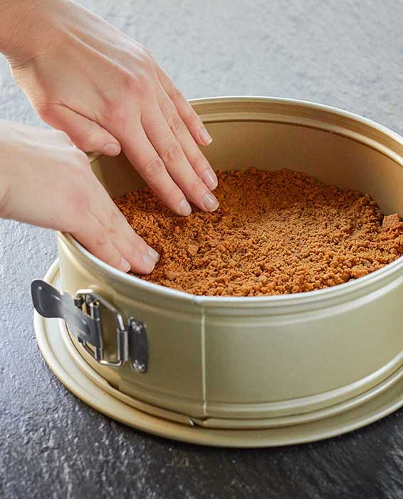 pumpkin pie cheesecake russell hobbs exclusive recipe pushing crumbs into pan