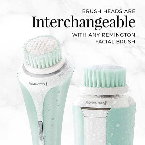 Brush heads are interchangeable with any remington facial brush