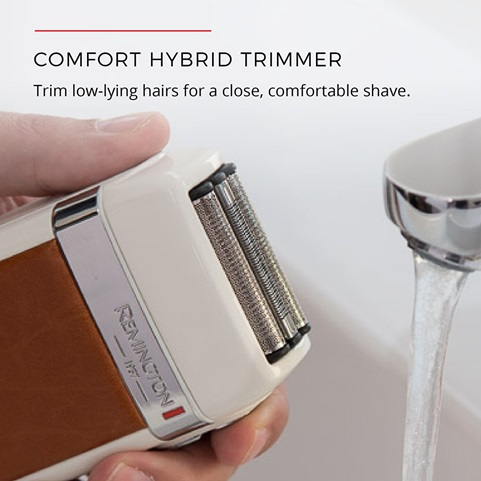 Comfort hybrid trimmer. Trim low-lying hairs for a close, comfortable shave
