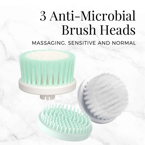 remington reveal facial cleansing brush with 2 antimicrobial brush heads fc1000