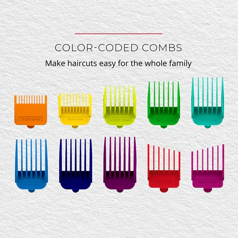 Color-Coded Combs. Make haircuts easy for the whole family