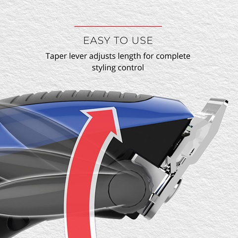 Easy To Use. Taper lever adjusts length for complete styling control
