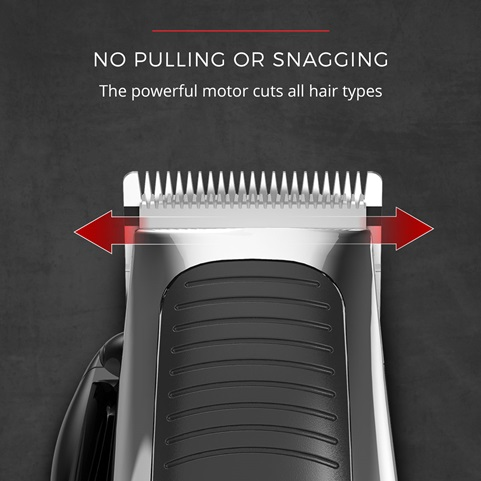 No Pulling or Snagging. The powerful motor cuts all hair types.