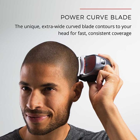 Power Curve Blade - The unique extra wide curved blade contours to your head for fast, consistent coverage