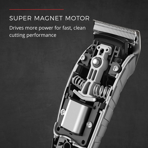 Super Magnet Motor. Drives more power for fast, clean cutting performance.