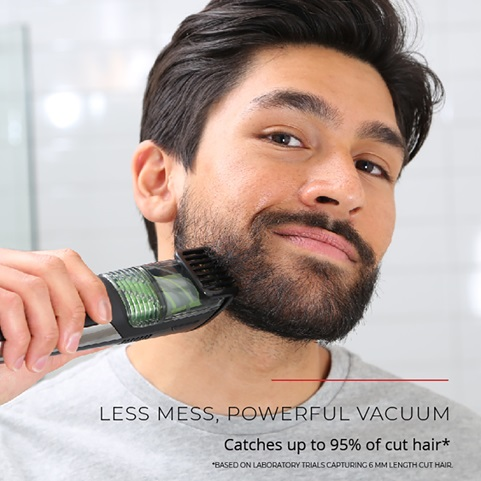 Less mess powerful vacuum. Catches up to 95 percent of cut hair. Based on laboratory trials capturing 6 millimeter length cut hair