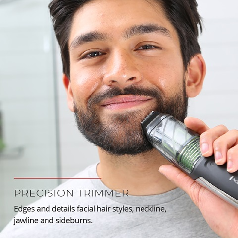 Precision Trimmer. Edges and details facial hair styles, neckline, jawline and sideburns