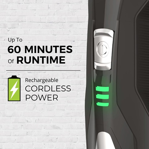 Up to 60 minutes of runtime. Rechargeable cordless power.