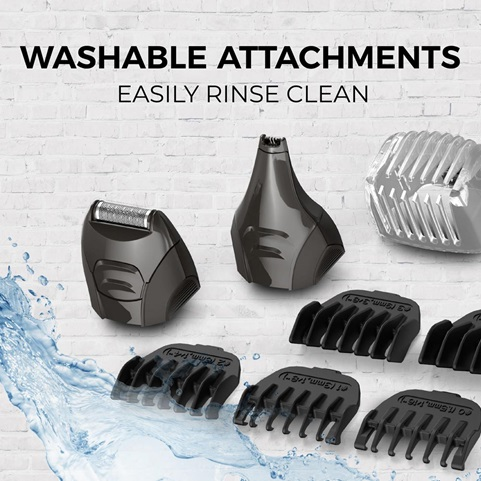 Washable attachments easily rinse clean.