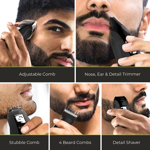 Adjustable Comb. Nose, Ear & Detail Trimmer. Stubble Comb. 4 Beard Combs. Detail Shaver.