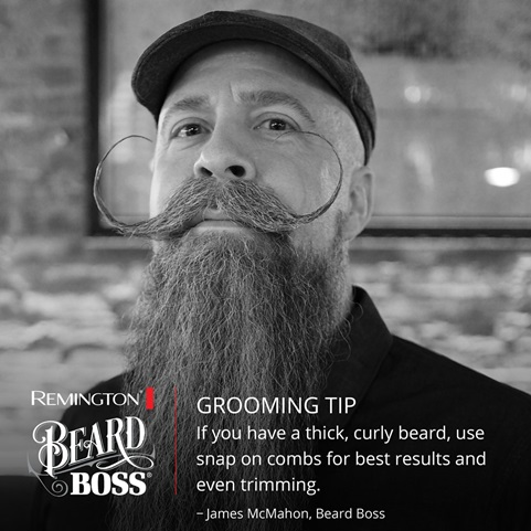 Grooming Tip. If you have a thick, curly beard, use snap on combs for best results and even trimming.