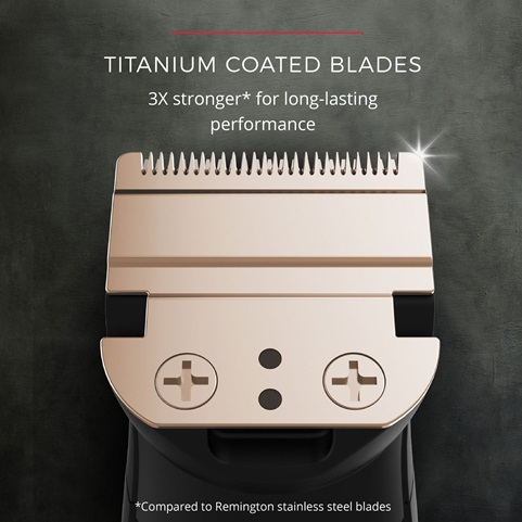 Titanium Coated Blades. 3X stronger* for long-lasting performance, compared to Remington stainless steel blades
