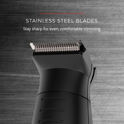 Stainless steel blades. Stay sharp for even, comfortable trimming