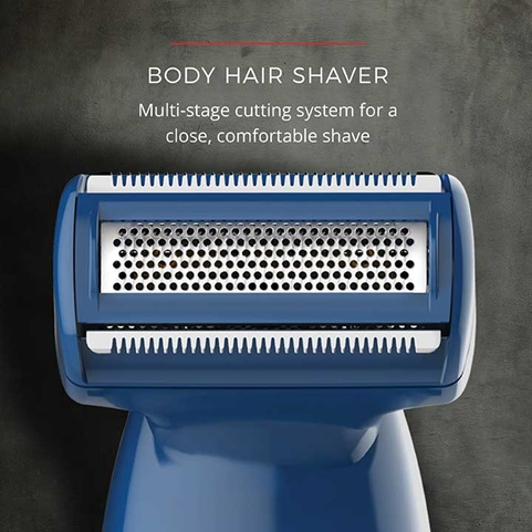 Body Hair Shaver. Multi-stage cutting system for a close, comfortable shave.
