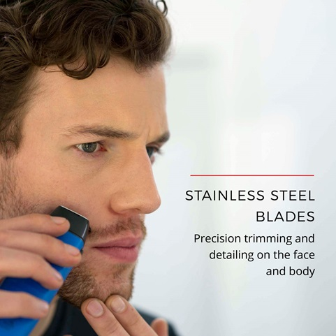 Stainless Steel Blades. Precision trimming and detailing on the face and body