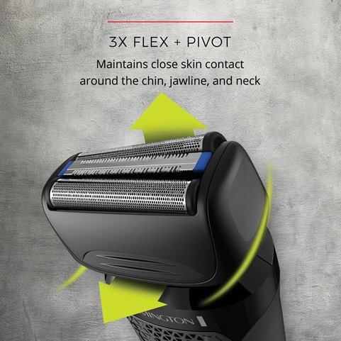3X Flex + Pivot. Maintains close skin contact around the chin, jawline and neck.