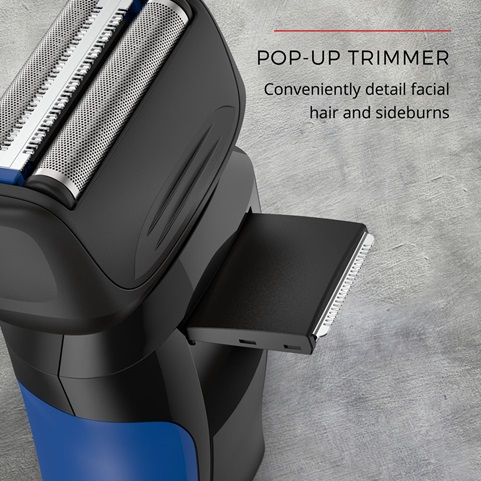 Pop-Up Trimmer conveniently detail facial hair and sideburns.