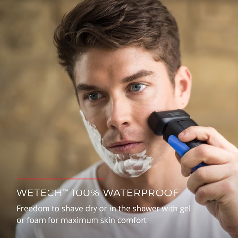 WETech 100% Waterproof. Freedom to shave dry or in the shower with gel or foam for maximum skin comfort