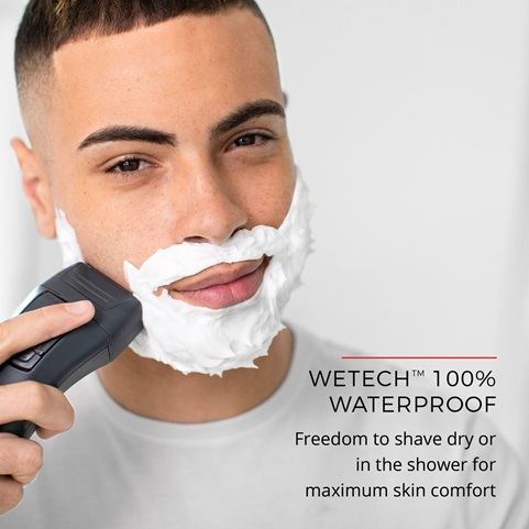 WETech™ 100% Waterproof - Freedom to shave dry or in the shower for maximum skin comfort
