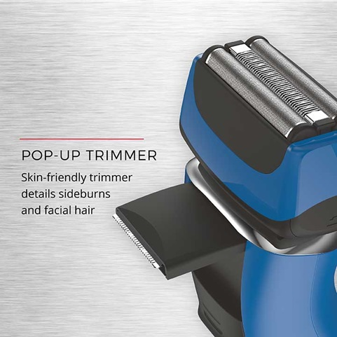 Pop-Up Trimmer - Skin-friendly trimmer details sideburns and facial hair