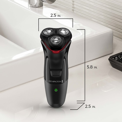 remington Power Series Rotary Shaver standing on counter with scaled dimensions pr1335