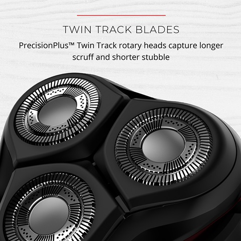 Twin Track Blades. Precision Plus Twin Track rotary heads capture longer scruff and shorter stubble