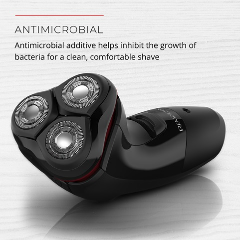 Antimicrobial. Antimicrobial additive helps inhibit the growth of bacteria for a clean, comfortable shave