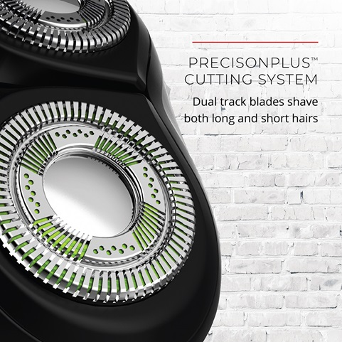 PrecisionPlus Cutting System. Dual track blades shave both long and short hairs