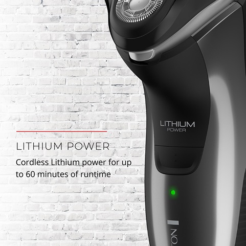 Lithium Power. Cordless Lithium power for up to 60 minutes of runtime