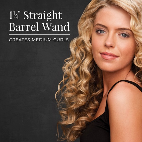 1 and 1 fourth inch straight barrel wand creates medium curls