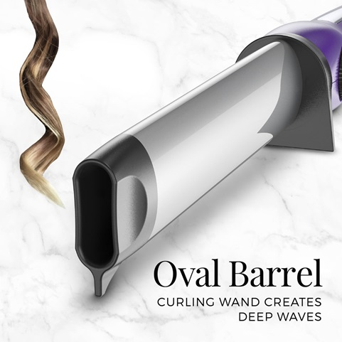 Oval Barrel curling wand creates deep waves
