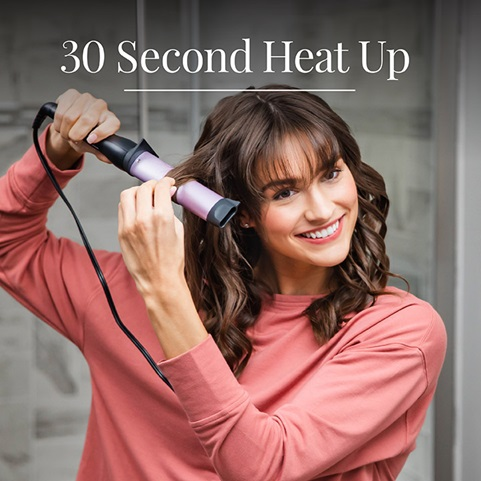 Curling Wand/Hair Waver With Oval Barrel For Deep Waves heats up in 30 seconds - CI50U2