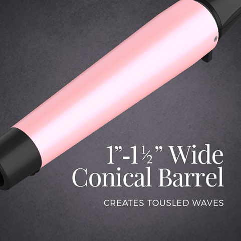 1 inch to 1 and a half inch wide conical barrel creates tousled waves