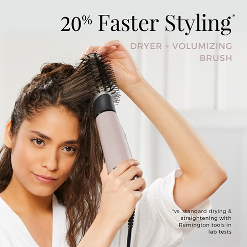 Faster styling. Dryer and volumizing brush.