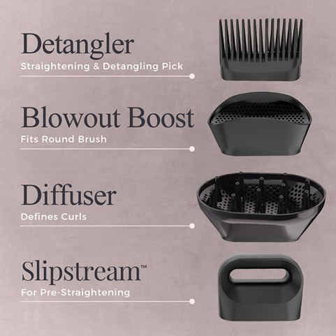 Detangler, Blowout Boost, Diffuser, Slipstream™
